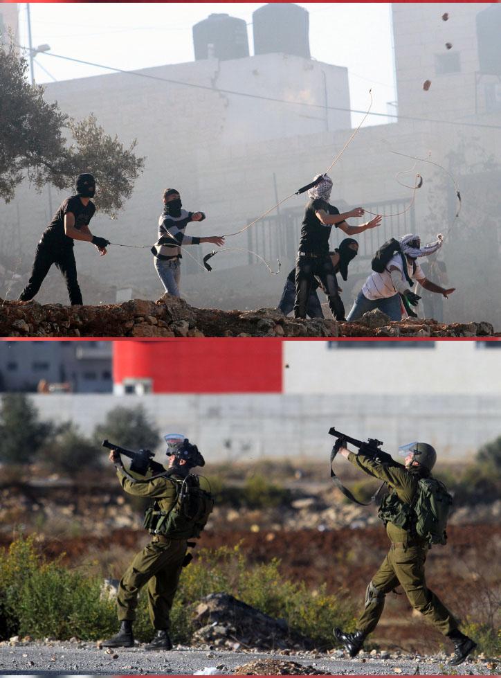 """עימותים בין פלסטינים לחיילי צה""""ל ליד רמאללה, 12.10.13 (צילום: עיסאם רימאווי)"""