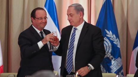 ראש ממשלת ישראל בנימין נתניהו עם נשיא צרפת פרנסואה הולנד, אתמול (צילום: נועם מושקוביץ)