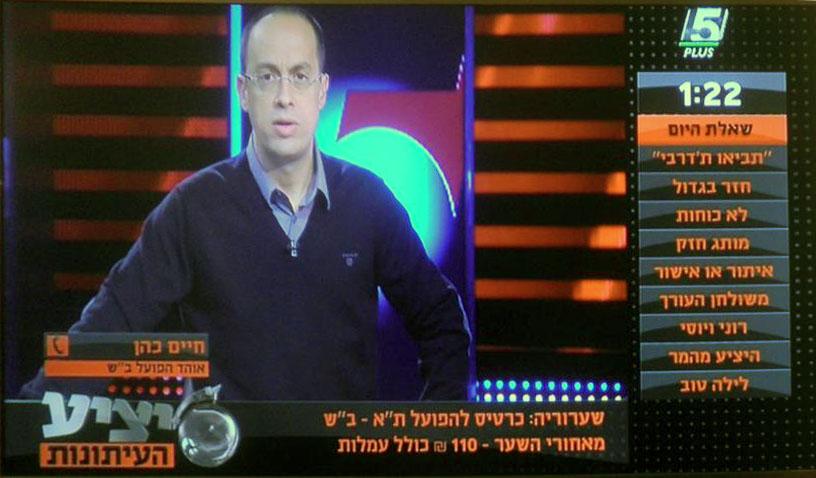 """ניב רסקין ב""""יציע העיתונות"""" בערוץ הספורט, 26.12.13 (צילום מסך)"""