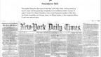 """הגיליון הראשון של ה""""ניו יורק טיימס"""" (מתוך דף הפייסבוק של ה""""טיימס"""")"""