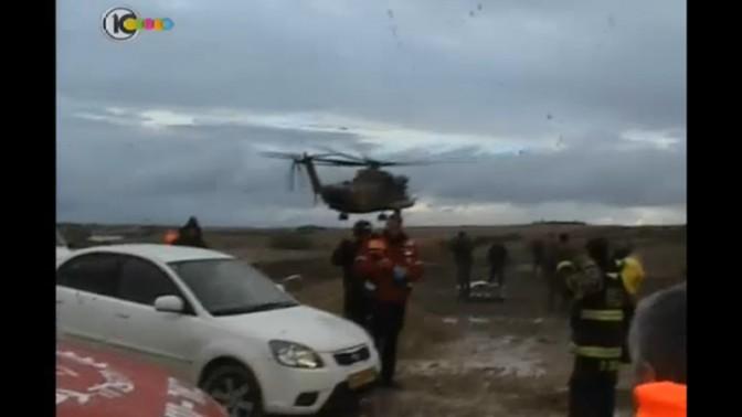 דיווח על החילוץ בנחל גרר, חדשות 10, 12.12.13 (צילום מסך)