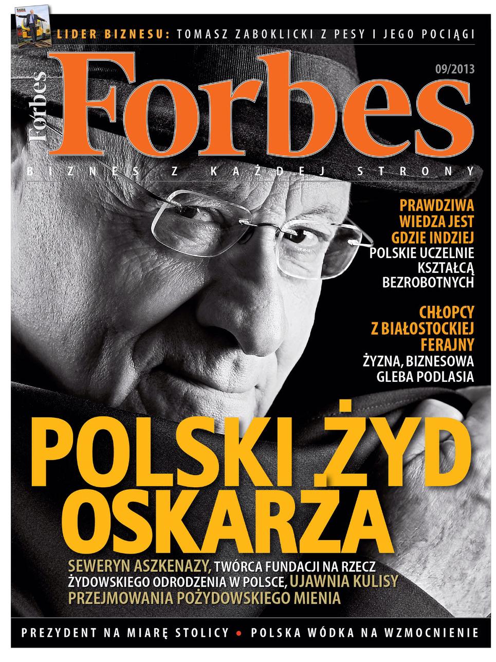 """שער גליון """"פורבס"""" פולין מספטמבר 2013, שבו פורסם התחקיר על הקהילה היהודית ורכוש קורבנות השואה"""
