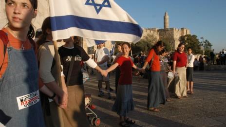 הפגנה נגד תוכנית ההתנתקות. ירושלים, 25.7.04 (צילום: שרון פרי)