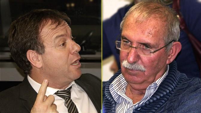 """חברי הוועד המנהל של רשות השידור, יואב הורביץ (משמאל) ויעקב בורובוסקי, בישיבת המליאה, 14.1.14 (צילומים: """"העין השביעית"""")"""