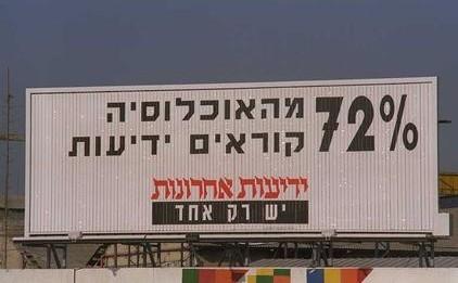 """שלט פרסומת ל""""ידיעות אחרונות"""", 11.10.1992 (צילום: זיו קורן, לע""""מ)"""