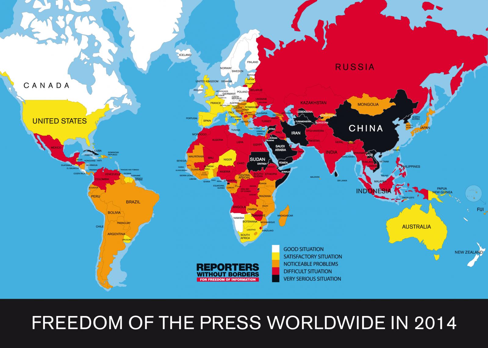 מפת מדד חופש העיתונות הבינלאומי של ארגון עיתונאים-ללא-גבולות