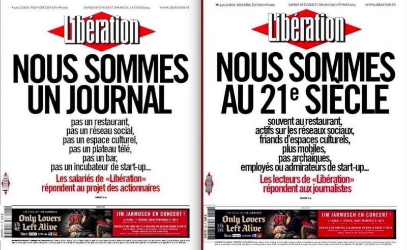 """""""אנחנו עיתון"""" (משמאל), שער המחאה של עיתונאי ה""""ליברסיון""""; """"אנחנו במאה ה-21"""", התגובה הסאטירית"""