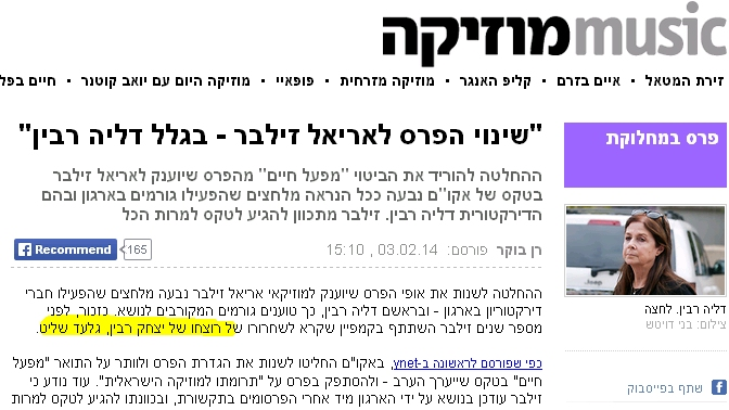 ynet מתאר את גלעד שליט כרוצחו של יצחק רבין (3.2.2014)
