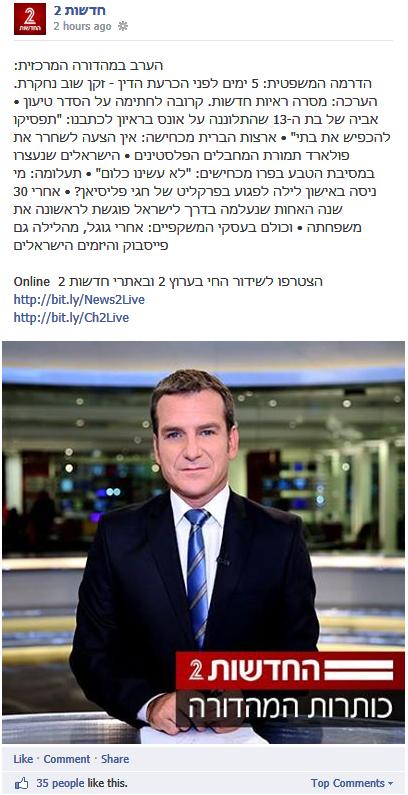 כותרות המהדורה בדף הפייסבוק של חדשות 2