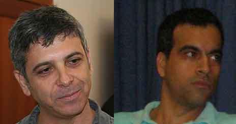 """מנכ""""ל חברת החדשות של ערוץ 10 גולן יוכפז (מימין) ומנכ""""ל חברת החדשות של ערוץ 1 אבי וייס (צילומים: פלאש 90 ו""""העין השביעית"""")"""