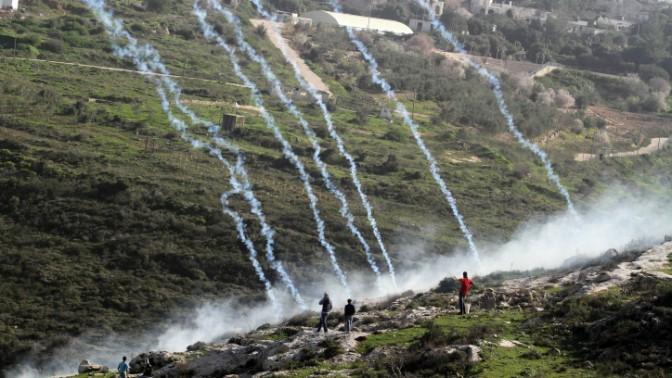 רימוני גז נורים אל מפגינים נגד הרחבת היישוב חלמיש שליד נבי סאלח, 8.2.13 (צילום: עיסאם רימאווי)