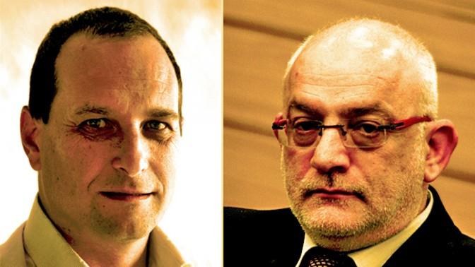 """מנכ""""ל רשות השידור יוני בן-מנחם (מימין) ויו""""ר הרשות אמיר גילת (צילומים: פלאש 90)"""
