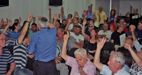 האסיפה הכללית של אגודת העיתונאים בתל-אביב, 28.5.14 (צילום: אורן פרסיקו)