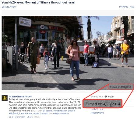 """סרטון צפירה ביום השואה עם הכיתוב על יום הזיכרון (צילום מסך מעמוד הפייסבוק של צה""""ל באנגלית)"""
