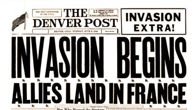 """""""הפלישה החלה"""", """"דנוור-פוסט"""", 6.6.1944"""