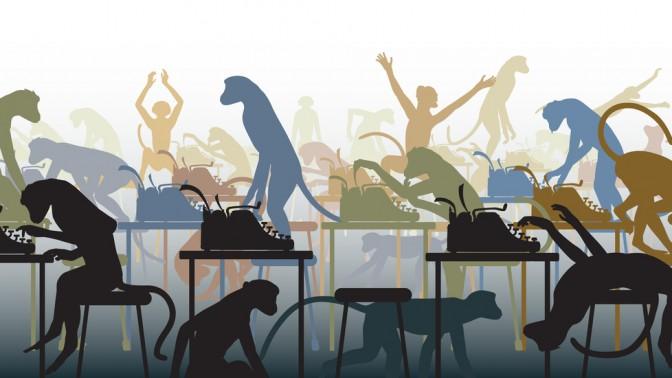 קופים מקלידים על מכונות כתיבה. איור: Robert Adrian Hillman / Shutterstock.com