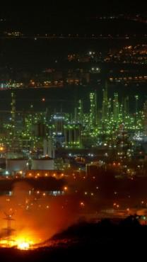 שריפה במפרץ חיפה, 12.6.14 (צילום: שי לוי)