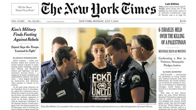 """שער """"ניו-יורק טיימס"""", 7.7.14. בתמונה הראשית: הנער הפלסטיני-אמריקאי טארק אבו-חדיר, שהוכה על-ידי לוחמי מג""""ב ישראלים ולאחר מכן נעצר"""