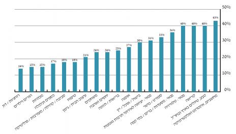 גרף 7 – תחומי העניין של גולשי האינטרנט בישראל (לפי נתוני ועדת המדרוג למדידת שיעורי הגלישה לינואר 2013)