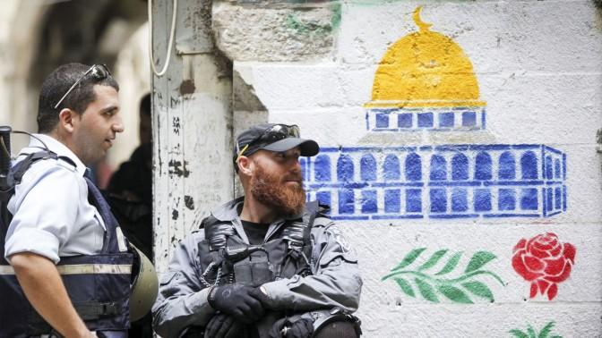 """שוטרי מג""""ב בעיר העתיקה בירושלים, 30.10.14 (צילום: יונתן זינדל)"""