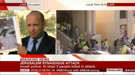 השר נפתלי בנט בראיון ב-BBC, צילום מסך מדף הפייסבוק של בנט