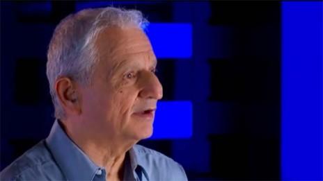 """נחום ברנע (צילום מסך מתוך סרטון תדמית של """"ידיעות אחרונות"""")"""