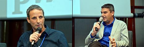 """גולן פרידנפלד, סגן עורכת """"כלכליסט"""" (מימין), ושי שלו, עורך מדור שוק ההון ב""""גלובס"""", בפאנל PwC Israel, תל-אביב, 2.12.14 (צילום: יוסי זליגר)"""