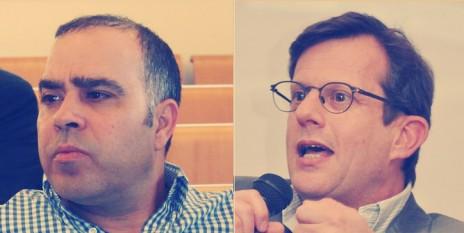 """מנכ""""ל ynet אבי בן-טל (משמאל) והעורך ערן טיפנברון (צילומים: """"העין השביעית"""" ויהודה שגב)"""