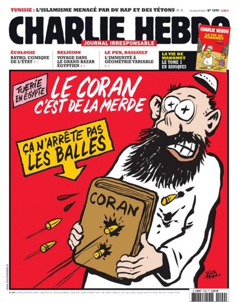 """קטל במצרים. הספר הקדוש לא עוצר את הכדורים: """"הקוראן הזה זה שיט!"""". שער """"שרלי הבדו"""" מיולי 2013"""