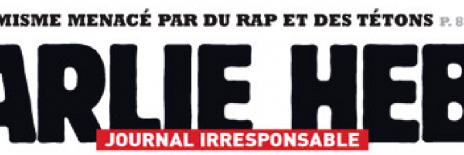 """המוטו מתחת ללוגו של """"שרלי הבדו"""": """"מגזין בלתי אחראי"""" (וקטע מכותרת הגג: """"האסלאמיסטים מפחדים מראפ ומפטמות"""")"""