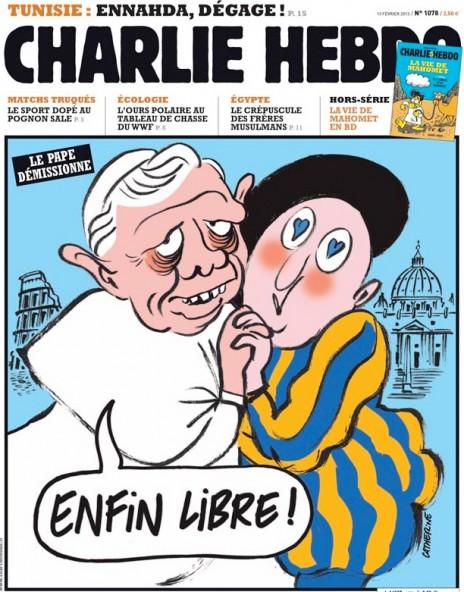 """האפיפיור בנדיקטוס ה-16 פורש (יוצא מהארון): """"סוף-סוף חופשי"""". שער """"שרלי הבדו"""" מפברואר 2013"""