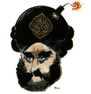 """קריקטורה של הנביא מוחמד שיצר המאייר הדני קורט ווסטרגארד, שפורסמה בעיתון """"יילנדס פוסטן"""" ב-2005 יחד עם 11 קריקטורות אחרות באותו נושא, ועוררה מהומות אלימות של מוסלמים ברחבי העולם"""