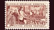 בול דואר אמריקאי לזכר העימותים הפוליטיים שניהלו המועמדים לסנאט אברהם לינקולן וסטיוון דאגלס בקיץ 1858