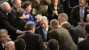 """ראש הממשלה בנימין נתניהו אחרי נאומו בקונגרס בוושינגטון, 3.3.15 (צילום: עמוס בן גרשום, לע""""מ)"""