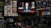 שידור נאומו של ראש הממשלה, בנימין נתניהו, בערוץ 2. חנות מוצרי חשמל, ישראל, 3.3.15 (צילום: דניאל שטרית)