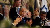 בנימין נתניהו, ראובן ריבלין, עמיר פרץ ויולי אדלשטיין ביום השבעת הכנסת ה-20. 31.3.15 (צילום: נתי שוחט)