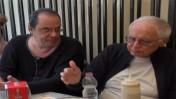 """ספי רכלבסקי (משמאל) עם ראובן אדלר, בסרט """"הרצוג"""" (צילום מסך)"""