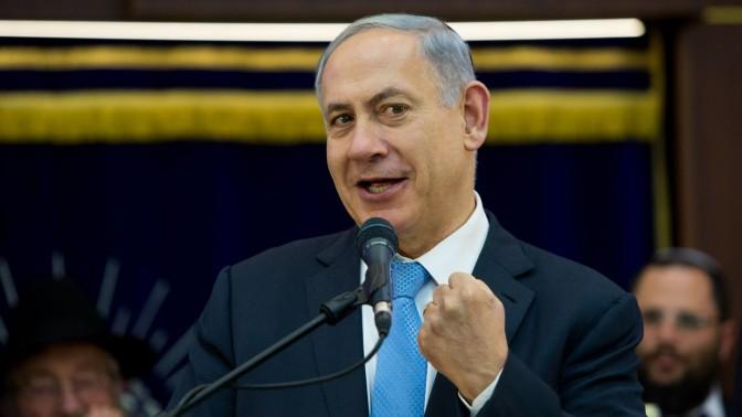 ראש הממשלה, בנימין נתניהו, נואם בישיבת מרכז הרב בירושלים. 17.5.15 (צילום: יונתן זינדל)