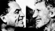 """רוג'ר ווטרס וגדעון לוי, מתוך צילום של שון אואנס במוסף """"הארץ"""", עיבוד תמונה"""