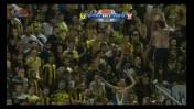 """אוהדי בית""""ר ירושלים אתמול באיצטדיון בסכנין (צילום מסך מהערוץ הראשון)"""