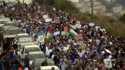 הפגנה נגד הוצאתה מחוץ לחוק של התנועה האיסלאמית, אום אל-פאחם, 28.1.15 (צילום: מועמר אוואד)