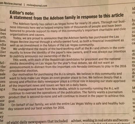 """הודעת הרכישה של משפחת אדלסון כפי שפורסמה ב""""LVRJ"""", צמוד לכתבה העוסקת בזהות הרוכשים (צילום: מתוך חשבון הטוויטר של מולי בול. לחצו להגדלה)"""