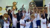 מכבי אשדוד בכדורסל נשים חוגגת את הניצחון (צילום מסך)