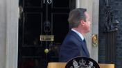 ראש ממשלת בריטניה, דייוויד קמרון, מודיע על התפטרותו בעקבות הכרעת משאל העם לעזוב את האיחוד האירופי, 24.6.2016 (צילום מסך)