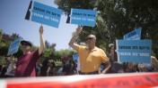 הפגנת עובדי רשות השידור נגד סגירת הרשות, ירושלים, 7.7.16 (צילום: יונתן זינדל)