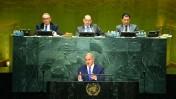"""ראש ממשלת ישראל, בנימין נתניהו, נואם באולם העצרת הכללית של האו""""ם. ניו-יורק, 22.9.16 (צילום: קובי גדעון, לע""""מ)"""