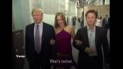 """דונלד טראמפ (משמאל) עם בילי בוש ואריאנה צוקר, בצילום מסך מתוך הקלטת שחשף ה""""וושינגטון פוסט"""""""