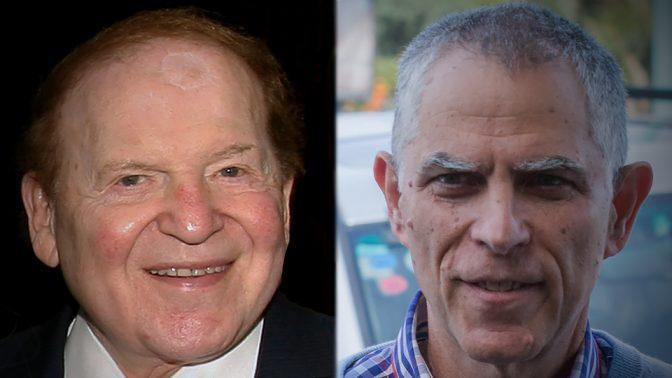"""מו""""ל """"ידיעות אחרונות"""" ארנון (נוני) מוזס והבעלים של """"ישראל היום"""" שלדון אדלסון (צילומים: פלאש90)"""