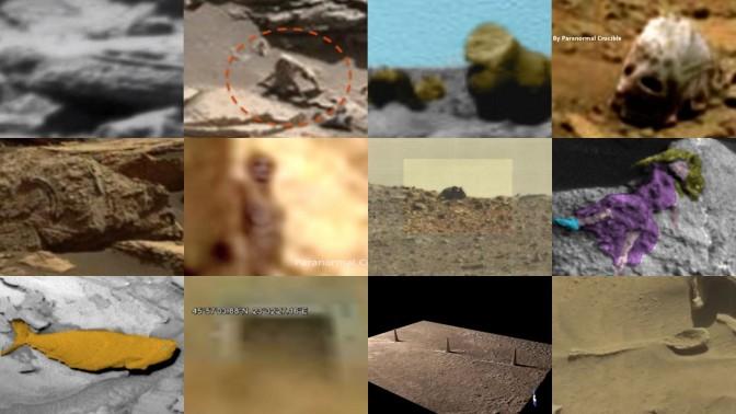 מהנעשה במאדים, לפי ynet: סרקופג, קוף-עכביש, גורילה וגור, גולגולת של ביגפוט, מאובן של דב גריזלי, חייזר קטן, עכבר גדול, גופת אשה מהמאה ה-18, דג דמוי כריש, פתח של מנהרה, שלושה צריחים וכף (לחצו להגדלה)