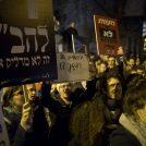מפגינים באירוע מחאה נגד כוונת עיריית ירושלים לסגור את גלריה ברבור, 8.2.17 (צילום: ליאור מזרחי)